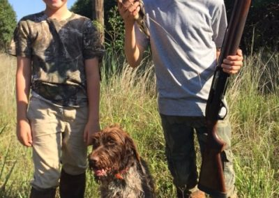 Good friend, Kyle, and I took our boys on an opener dove hunt Sept. 1st of 2019. August got a shotgun the year before and bagged his first bird ever on the trip. Getting them hooked!