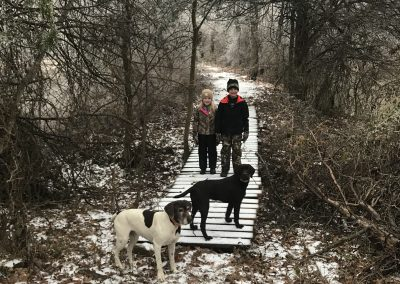 Just having a good time exploring with the kidos and dogs after a snow.
